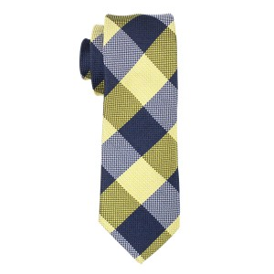 Lemon Green and Blue Plaid Slim 100% Silk Necktie