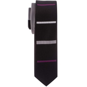 Newport Stripe Black and Purple Handmade Microfiber Necktie
