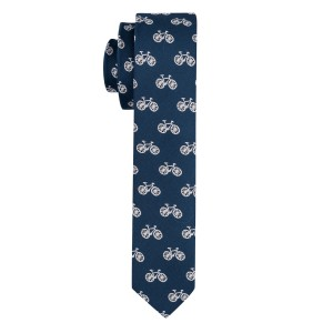 Blue Bicycle Ultra Thin Woven Microfiber Necktie