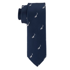Blue with Silver Saxophone Ultra Thin Microfiber Necktie