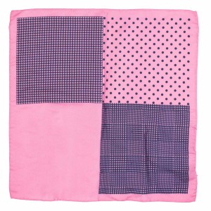 Four Square Printed Pink Silk Pocket Square For Men By The Tie Hub
