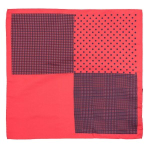 Four Square Printed Red and Navy Silk Pocket Square For Men By The Tie Hub