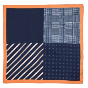 Four Square Printed Navy and Mustard Silk Pocket Square For Men By The Tie Hub