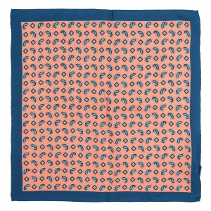 People Paisley orange and Blue 100% Silk Pocket Square for Men