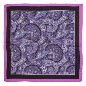 Brutlox Purple Paisley 100% Silk Pocket square for Men