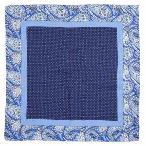Tin Tin Blue Polke with paisley border 100% Silk Pocket Square for Men