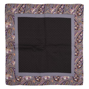 Tin Tin Black Polke with paisley border 100% Silk Pocket Square for Men