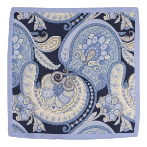 Brutlox Sky Blue Paisley 100% Silk Pocket Square for Men