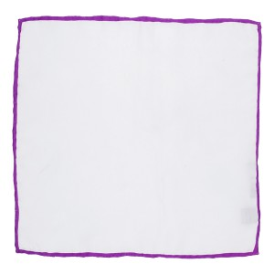 Solid White With Purple Border 100% Silk Pocket Square