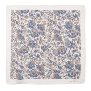 White and Cream Florl 100% Pocket Square