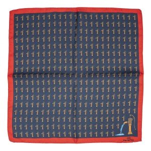 Hand Water pump Blue and Red 100% Silk Pocket Square