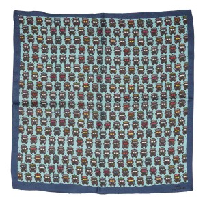 Truck Print Sea Green 100% Silk Pocket Square
