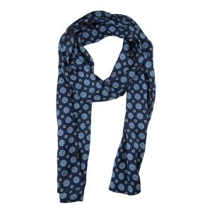 Blue 100% silk scarf with Stars and Circle Design