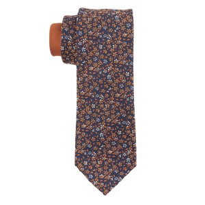 Flower Fields Orange and Blue Silk Necktie