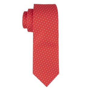 Red with White Polka 100% Microfiber Necktie