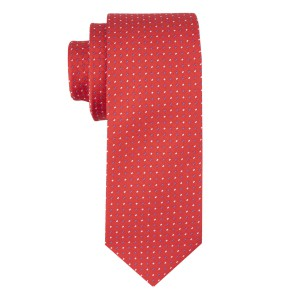 Red with Blue and White Polka 100% Microfiber Necktie
