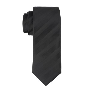 Black with Matt Black Stripe Microfiber Necktie