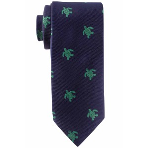 Blue with Green Turtle Slim Handmade Microfiber Necktie