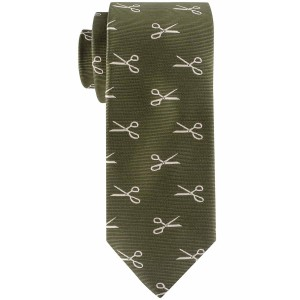 Green with White Scissors Slim Handmade Microfiber Necktie