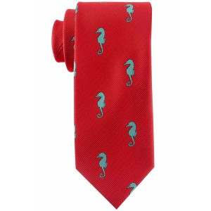 Red with Blue Seahorse Microfiber Necktie