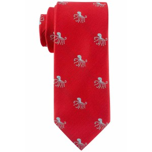 Red with Sea Green Octopus Slim Handmade Microfiber Necktie
