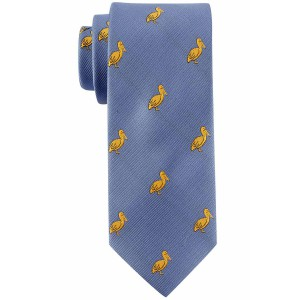 Blue with Yellow Pelican Slim Handmade Microfiber Necktie