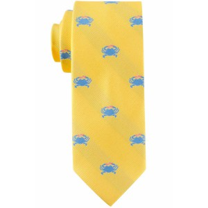 Yellow with Blue Crab Slim Handmade Microfiber Necktie