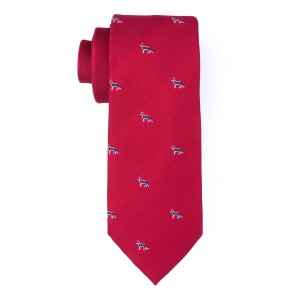 Maroon with Blue Fox 100% Silk Necktie