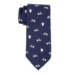 Blue with White Scooter 100% Silk Necktie