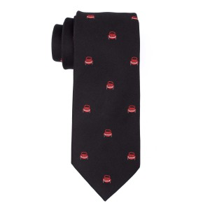 Black with Red Car 100% Silk Necktie