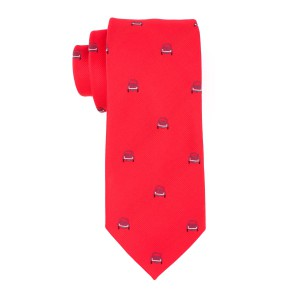 Red with Grey Car 100% Silk Necktie