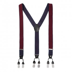 Tic Tac Toe  - Blue/Maroon Suspender ( Clip-on)