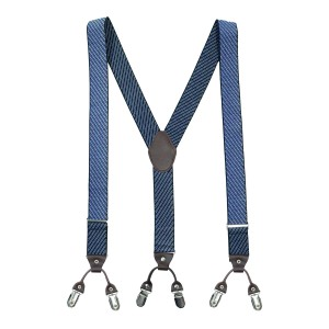 Pin Stripe Blue Y Back Suspender