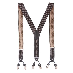 Tic Tac Toe Black and Off White Y Back Suspender