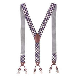 Chox Black and Purple Checkered Y Back Suspender