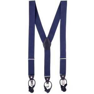 Gentry Solid Blue Y Back Button Suspender