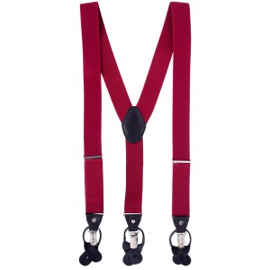 Signature Solid Maroon Y Back Button-end Suspender
