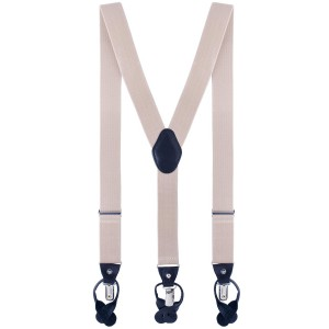 Signature Solid Beige Y Back Button-end Suspender