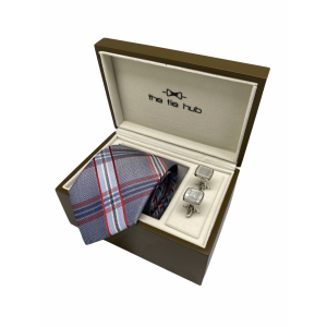 Blue with Red Plaid Silk Necktie Combo