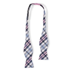 Flicker Plaid Pink and Blue Reversible Silk Self Tie Bow Tie