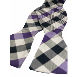 Silver with Purple and Black checkered Silk Self Tie Bow Tie