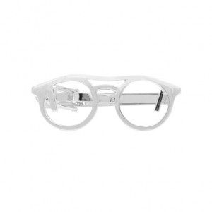 Spectacles Silver Round Tie Bar
