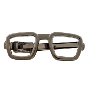 Spectacles Square Gun Metal Tie Bar