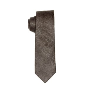 Block Check Dark Grey Suede Necktie