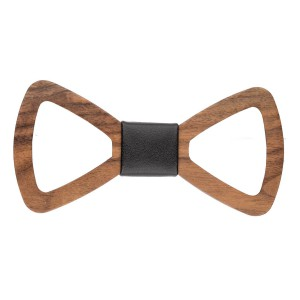 Natural Wood Hollow Bow Tie