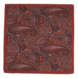 Paisly Printed Rust Wool Pocket Square
