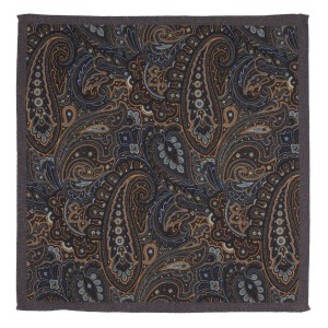 Paisly Printed Brown Wool Pocket Square