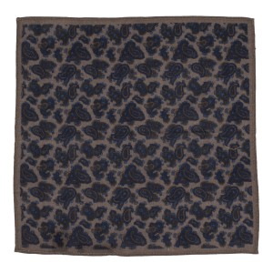 Paisly Print Brown and Blue Wool Pocket Square