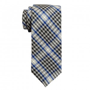 Herringbone Grey and Blue Plaid Regular 100% Wool Necktie
