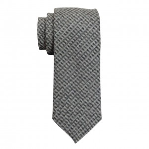 Grey Plaid Slim 100% Wool Necktie